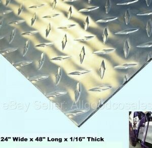 Aluminum Polished Diamond Plate 24 Wide X 48 Long X 1 16 Thick Alloy 3003
