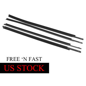 4pcs Window Moulding Weatherstrip Seal Belt For 2007 2018 Toyota Tundra Crewmax