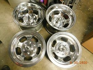 Set Polished 6 Lug Slot Mag Wheels 15x7 15x8 5 Chevy Gmc Datsun Truck Mags Gm