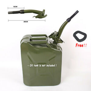 Black Metal Jerry Can Gas Canister Rubber Nozzle Spout Military Style