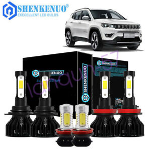 For Jeep Compass 2016 2017 2018 2019 2020 Led Headlight Fog Light White Bulbs