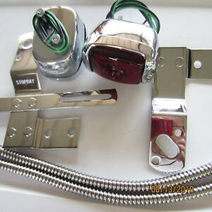 1940 1953 Chevy Truck Taillight Kit Chrome Lights Brackets Wire Covers