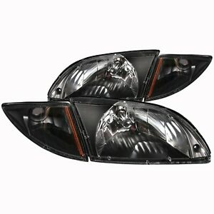 Fits 00 02 Chevrolet Cavalier Headlights Left Right Pair W Clear Lens Black