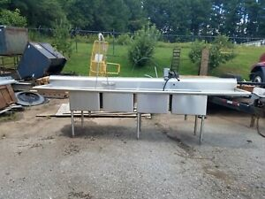 Used 12ft 4 Compartment Commercial Stainless Steel Sink With 2 Drainboards