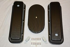 Chevy Black Finned Tall Aluminum Valve Covers 15 Air Cleaner 396 427 454 Bbc