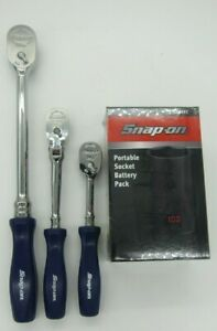 Snap On Set Of 3 Ratchets 1 4 Thld72 3 8 Fhld80 1 4 Thlfd72 Free Battery Pack