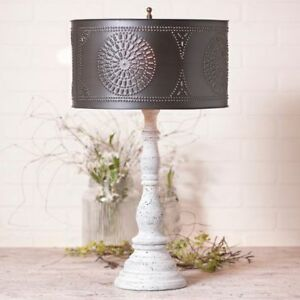Farmhouse Wood Table Lamp In Americana Vintage White With Black Tin Drum Shade