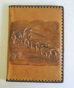 Vintage Hand Tooled Handcrafted Leather Notebook Notepad Organizer
