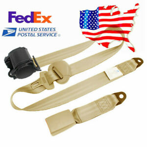 3 Point Car Seat Belt Buckle Kit Retractable Safety Straps Nylon Beige Us