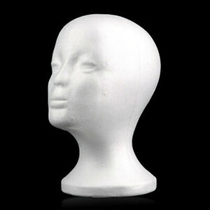 Display Female Styrofoam Mannequin Head Model Glasses Hat Wig Foam Holder Stand