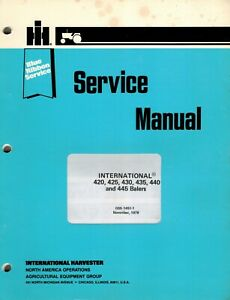 Ih blue Ribbon 420 425 430 435 440 445 Balers Service Manual Gss 1451 1