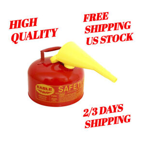 2 Gallon Safety Gas Can Eagle Ui 20 fs Red Galvanized Steel Type I Funnel