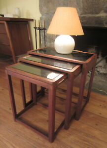 Stunning Vintage Art Deco Walnut And Glass Nesting Tables