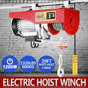 1320 Lbs 110v Electric Cable Hoist Crane Lift Garage Auto Shop Winch With Remote