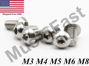 M3 M4 M5 M6 M8 Stainless Steel Button Head Socket Screw A2 Hex key Metric