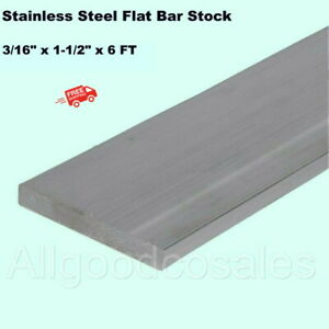 Stainless Steel Flat Bar Stock 3 16 X 1 12 X 6 Ft Rectangular 304 Mill Finish