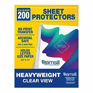 Samsill 200 Clear Heavyweight Sheet Protectors Assorted Colors Sizes