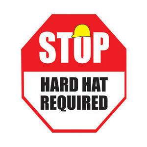 Hard Hat Area Floor Decals Required Red Anti slip Shape A