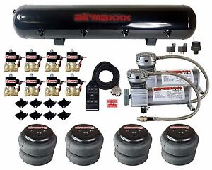 Air Compressors 400 Pewter 3 8 Valves 2500 Air Ride Bags Black 7 Switch Tank