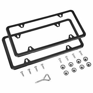 Slim Black Stainless Steel License Plate Frame Screw Cap Slim 4 Hole Bf 2