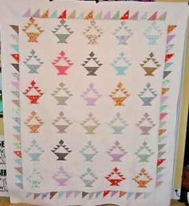 Vintage Large Basket Quilt 89 By 73 Amish Made 1980s