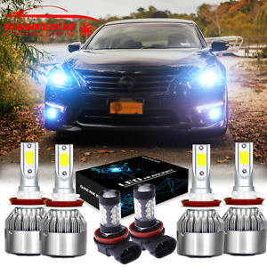 8000k Led Headlights Hi lo Fog Light Bulb Combo Kit For Nissan Altima 2007 2018