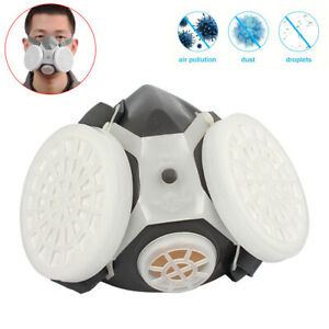 Adult Half Face Respirator Gas Mask Double Filter Chemical Protector Reusable