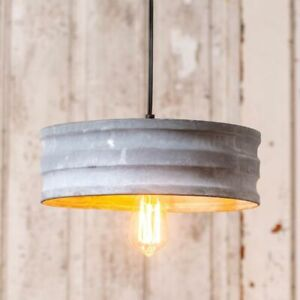 Small Drum Pendant Tin Hang Light In Weathered Zinc