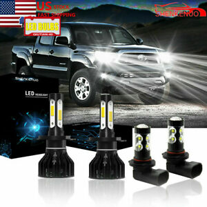 4x White Led Headlight High low Beam Fog Light Bulbs For Toyota Tacoma 2005 2011