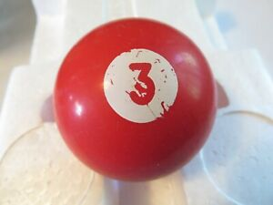 Vintage Billiards Pool Ball Gear Shift Knob Solid 3 Red White