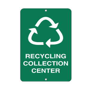 Vertical Metal Sign Multiple Sizes Recycling Collection Center Activity