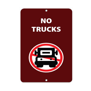 Vertical Metal Sign Multiple Sizes No Trucks Activity Park Prohibition Red