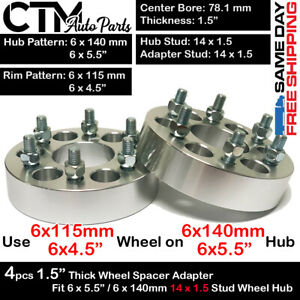 4pc 1 5 Thick 6x5 5 To 6x4 5 Wheel Adapter Spacer Fit Ram1500 sierra yukon