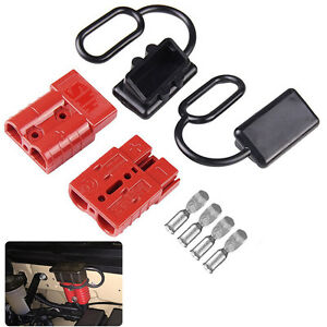 2x 50a Battery Trailer Pair Plug Quick Connector Kit Connect Disconnect Winch Us