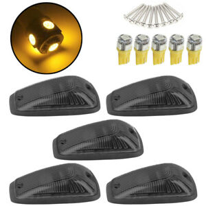 5 Cab Marker Roof Light Smoke 5050 Amber Led Base Fits Gmc Chevy C1500 C2500