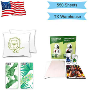 Sublimation Paper Heat Transfer Dye Inkjet Printing Mug T shirt 550 Sheets A4 Us