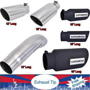 2 5 4 5 Inlet 12 15 Long Diesel Exhaust Tip Pipes Chrome Stainless Steel