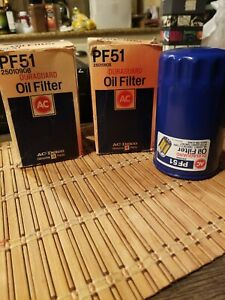 2 Vintage Ac Delco Pf51 Oil Filter With Box Gm Nos Chevy Olds Pontiac Etc