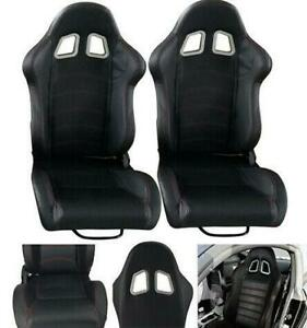 2 Pcs Black Universal Pvc Faux Leathe Pvc Racing Seats L r