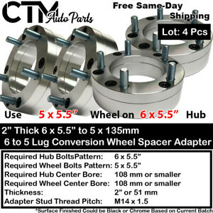 4pc 2 Thick 6x5 5 To 5x5 5 wheel Adapter Spacer 5 Lug Wheel On 6 Lug Chevy