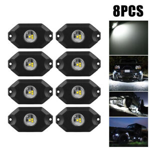 8pc White Rock Lights Led Dome Lights Off road Under Car Light For Atv Truck Suv