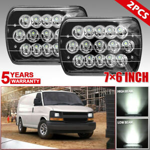 Pair 7x6 5x7 Black Led Headlights Hi Lo Beam Fit Chevy Astro G10 G20 Cargo Van