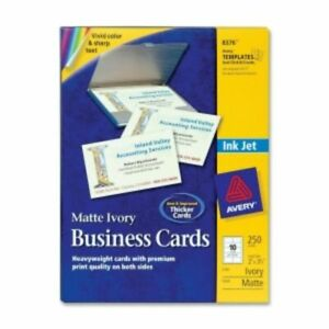 Avery Printable Microperforated Inkjet Business Cards Ivory Matte 250 pack 08376