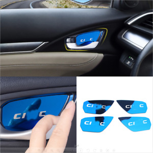 For Honda Civic 2016 2020 Abs Blue Interior Steering Wheel Decorative Trim 3pcs