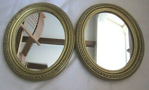 Pair Of Vintage Antique Oval Mirrors Wood Frames Gold Beaded Rim