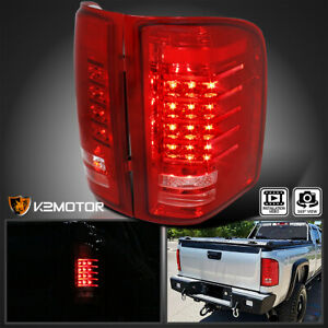 For 2007 2014 Chevy Silverado 1500 2500 3500 Truck Pickup Red Led Tail Lights