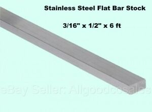 Stainless Steel Flat Bar Stock 3 16 X 1 2 X 6 Ft Rectangular 304 Mill Finish