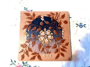 Antique Original Victorian Stencilled Floral Barbotine Tile