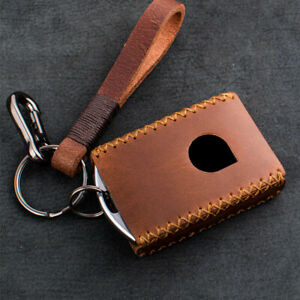 Real Leather Car Smart Remote Key Fob Case Cover Bag Skin For Volvo Xc60 S90 V90