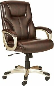 Executive Office Chair High Back Brown Faux Leather Swivel Padded Lumbar Support